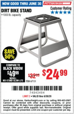Harbor Freight Coupon 1000 LB. CAPACITY DIRT BIKE STAND Lot No. 67151 Expired: 6/30/20 - $24.99