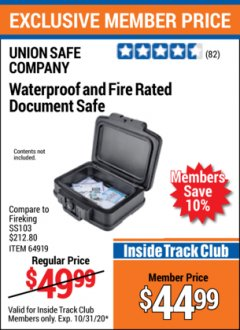 Harbor Freight ITC Coupon FIRE RATED AND WATERPROOF DOCUMENT SAFE Lot No. 64919 Valid Thru: 10/31/20 - $44.99