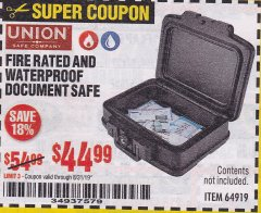 Harbor Freight Coupon FIRE RATED AND WATERPROOF DOCUMENT SAFE Lot No. 64919 Expired: 8/31/19 - $44.99
