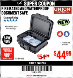 Harbor Freight Coupon FIRE RATED AND WATERPROOF DOCUMENT SAFE Lot No. 64919 Expired: 10/27/19 - $44.99