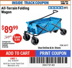 Harbor Freight ITC Coupon FOLDING FABRIC WAGON Lot No. 56177 Expired: 6/30/20 - $89.99