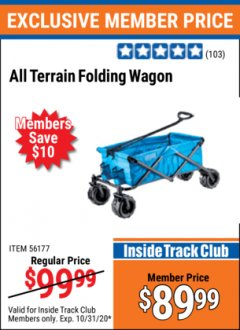 Harbor Freight ITC Coupon FOLDING FABRIC WAGON Lot No. 56177 Valid Thru: 10/31/20 - $89.99