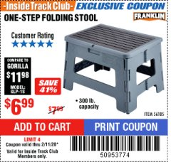 Harbor Freight ITC Coupon FRANKLIN ONE-STEP FOLDING STEP STOOL Lot No. 56185 Expired: 2/11/20 - $6.99