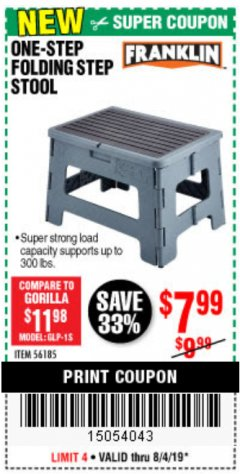 Harbor Freight Coupon FRANKLIN ONE-STEP FOLDING STEP STOOL Lot No. 56185 Expired: 8/4/19 - $7.99