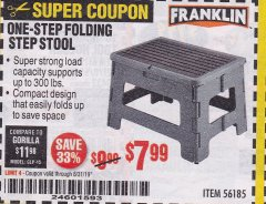 Harbor Freight Coupon FRANKLIN ONE-STEP FOLDING STEP STOOL Lot No. 56185 Expired: 8/31/19 - $7.99