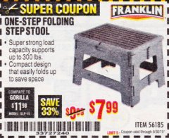 Harbor Freight Coupon FRANKLIN ONE-STEP FOLDING STEP STOOL Lot No. 56185 Expired: 9/30/19 - $7.99