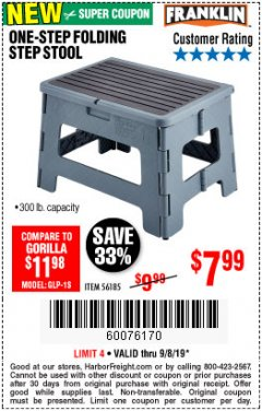 Harbor Freight Coupon FRANKLIN ONE-STEP FOLDING STEP STOOL Lot No. 56185 Expired: 9/8/19 - $7.99