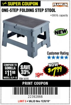 Harbor Freight Coupon FRANKLIN ONE-STEP FOLDING STEP STOOL Lot No. 56185 Expired: 12/8/19 - $7.99