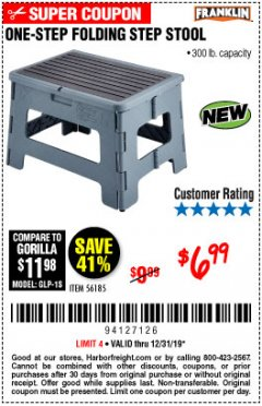 Harbor Freight Coupon FRANKLIN ONE-STEP FOLDING STEP STOOL Lot No. 56185 Expired: 12/31/19 - $6.99