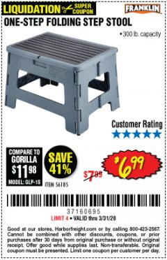 Harbor Freight Coupon FRANKLIN ONE-STEP FOLDING STEP STOOL Lot No. 56185 Expired: 3/31/20 - $6.99