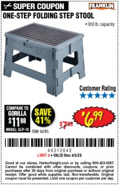 Harbor Freight Coupon FRANKLIN ONE-STEP FOLDING STEP STOOL Lot No. 56185 Valid Thru: 4/5/20 - $6.99