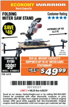 Harbor Freight Coupon WARRIOR UNIVERSAL FOLDING MITER SAW STAND Lot No. 56478 EXPIRES: 6/30/20 - $49.99