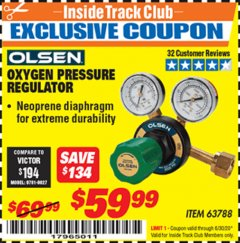 Harbor Freight ITC Coupon OXYGEN PRESSURE REGULATOR Lot No. 63788 Dates Valid: 12/31/69 - 6/30/20 - $59.99