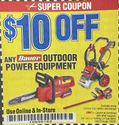 Harbor Freight Coupon $10 OFF ANY BAUER OUTDOOR TOOL Lot No. 64941,64996,64995,64940,64942 Valid Thru: 7/5/20 - $0.1