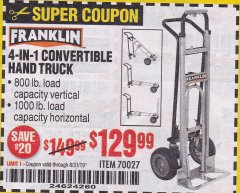 Harbor Freight Coupon FRANKLIN 4-IN-1 CONVERTIBLE HAND TRUCK Lot No. 70027 Expired: 8/31/19 - $129.99