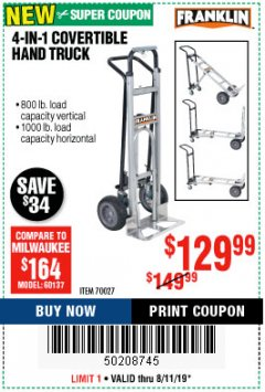 Harbor Freight Coupon FRANKLIN 4-IN-1 CONVERTIBLE HAND TRUCK Lot No. 70027 Expired: 8/11/19 - $129.99