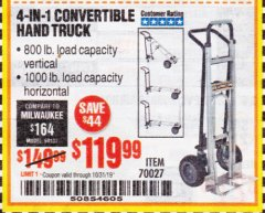 Harbor Freight Coupon FRANKLIN 4-IN-1 CONVERTIBLE HAND TRUCK Lot No. 70027 Expired: 10/31/19 - $119.99