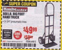Harbor Freight Coupon 800LB, BIGFOOT HAND TRUCK Lot No. 64815 Expired: 8/31/19 - $49.99