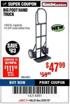 Harbor Freight Coupon 800LB, BIGFOOT HAND TRUCK Lot No. 64815 Expired: 8/25/19 - $47.99