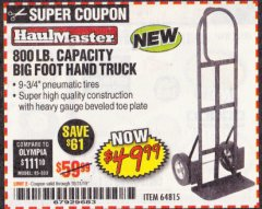 Harbor Freight Coupon 800LB, BIGFOOT HAND TRUCK Lot No. 64815 Expired: 10/31/19 - $49.99