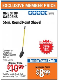 "Harbor Freight ITC Coupon 56"" ROUND POINT SHOVEL Lot No. 64924/63347 Valid Thru: 12/3/20 - $8.99"