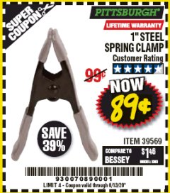 "Harbor Freight Coupon 1"" STEEL SPRING CLAMP Lot No. 39569 Valid Thru: 6/30/20 - $0.89"
