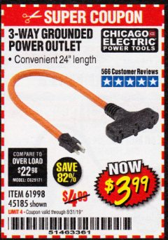 Harbor Freight Coupon 3-WAY GROUNDED POWER OUTLET Lot No. 56764/61998/45185 Expired: 8/31/19 - $3.99