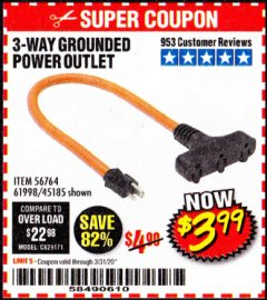 Harbor Freight Coupon 3-WAY GROUNDED POWER OUTLET Lot No. 56764/61998/45185 Expired: 3/31/20 - $3.99