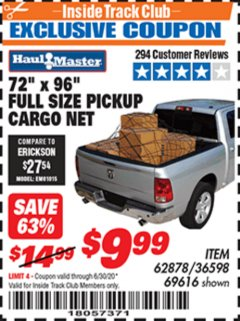 "Harbor Freight ITC Coupon 72"" x 96"" FULL SIZE PICKUP CARGO NET Lot No. 69616/36598 Expired: 6/30/20 - $9.99"