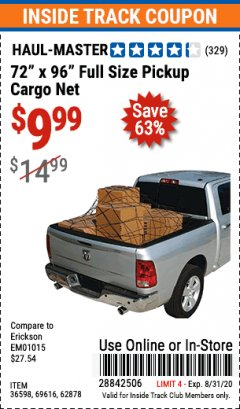 "Harbor Freight ITC Coupon 72"" x 96"" FULL SIZE PICKUP CARGO NET Lot No. 69616/36598 Expired: 8/31/20 - $9.99"