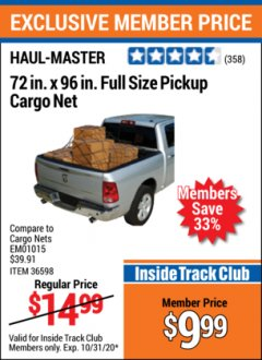 "Harbor Freight ITC Coupon 72"" x 96"" FULL SIZE PICKUP CARGO NET Lot No. 69616/36598 Valid Thru: 10/31/20 - $9.99"