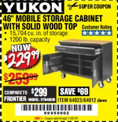 "Harbor Freight Coupon YUKON 46"" MOBILE WORKBENCH WITH SOLID WOOD TOP Lot No. 64023/64012 Expired: 11/22/19 - $229.99"