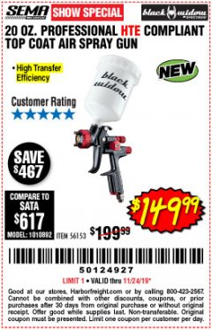 Harbor Freight Coupon BLACK WIDOW PROFESSIONAL HTE COMPLIANT SPRAY GUN Lot No. 56153 Expired: 11/24/19 - $149.99