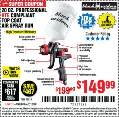 Harbor Freight Coupon BLACK WIDOW PROFESSIONAL HTE COMPLIANT SPRAY GUN Lot No. 56153 Expired: 2/16/20 - $149.99