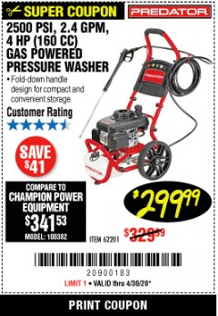 Harbor Freight Coupon 2500 PSI, 1.4 GPM 4 HP (160CC) GAS PRESSURE WASHER Lot No. 100382 EXPIRES: 6/30/20 - $299.99