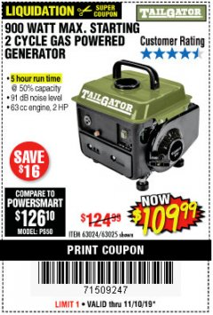 Harbor Freight Coupon TAILGATOR 900 PEAK / 700 RUNNING WATTS, 2HP (63CC) 2 CYCLE GAS GENERATOR EPA/CARB Lot No. 63024/63025 Expired: 11/10/19 - $109.99