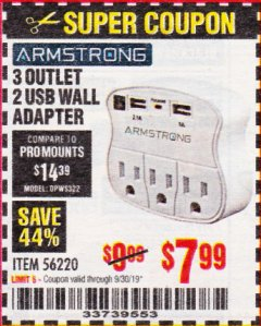 Harbor Freight Coupon 3 OUTLET 2 USB WALL ADAPTER Lot No. 56220 Expired: 9/30/19 - $7.99