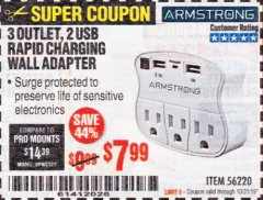 Harbor Freight Coupon 3 OUTLET 2 USB WALL ADAPTER Lot No. 56220 Expired: 10/31/19 - $7.99