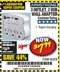 Harbor Freight Coupon 3 OUTLET 2 USB WALL ADAPTER Lot No. 56220 Valid Thru: 5/16/20 - $7.99