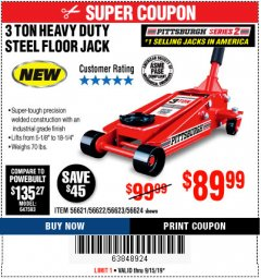 Harbor Freight Coupon RAPID PUMP 3 TON STEEL HEAVY DUTY FLOOR JACK Lot No. 56621/56622/56623/56624 Expired: 9/15/19 - $89.99