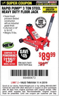 Harbor Freight Coupon RAPID PUMP 3 TON STEEL HEAVY DUTY FLOOR JACK Lot No. 56621/56622/56623/56624 Expired: 11/4/19 - $89.99