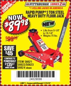 Harbor Freight Coupon RAPID PUMP 3 TON STEEL HEAVY DUTY FLOOR JACK Lot No. 56621/56622/56623/56624 Expired: 11/13/19 - $89.98
