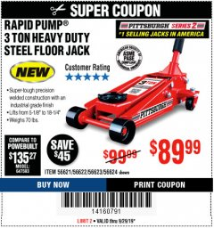 Harbor Freight Coupon RAPID PUMP 3 TON STEEL HEAVY DUTY FLOOR JACK Lot No. 56621/56622/56623/56624 Expired: 9/29/19 - $89.99