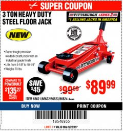 Harbor Freight Coupon RAPID PUMP 3 TON STEEL HEAVY DUTY FLOOR JACK Lot No. 56621/56622/56623/56624 Expired: 9/22/19 - $89.99