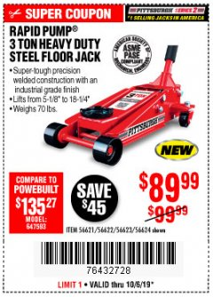 Harbor Freight Coupon RAPID PUMP 3 TON STEEL HEAVY DUTY FLOOR JACK Lot No. 56621/56622/56623/56624 Expired: 10/6/19 - $89.99