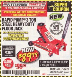 Harbor Freight Coupon RAPID PUMP 3 TON STEEL HEAVY DUTY FLOOR JACK Lot No. 56621/56622/56623/56624 Expired: 11/30/19 - $89.99