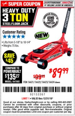Harbor Freight Coupon RAPID PUMP 3 TON STEEL HEAVY DUTY FLOOR JACK Lot No. 56621/56622/56623/56624 Expired: 12/31/19 - $89.99