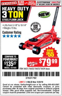 Harbor Freight Coupon RAPID PUMP 3 TON STEEL HEAVY DUTY FLOOR JACK Lot No. 56621/56622/56623/56624 Expired: 12/8/19 - $79.99