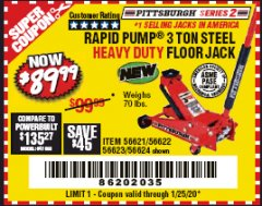 Harbor Freight Coupon RAPID PUMP 3 TON STEEL HEAVY DUTY FLOOR JACK Lot No. 56621/56622/56623/56624 Expired: 1/25/20 - $89.99