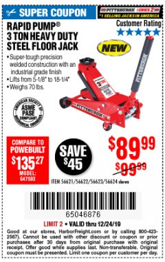 Harbor Freight Coupon RAPID PUMP 3 TON STEEL HEAVY DUTY FLOOR JACK Lot No. 56621/56622/56623/56624 Expired: 12/24/19 - $89.99